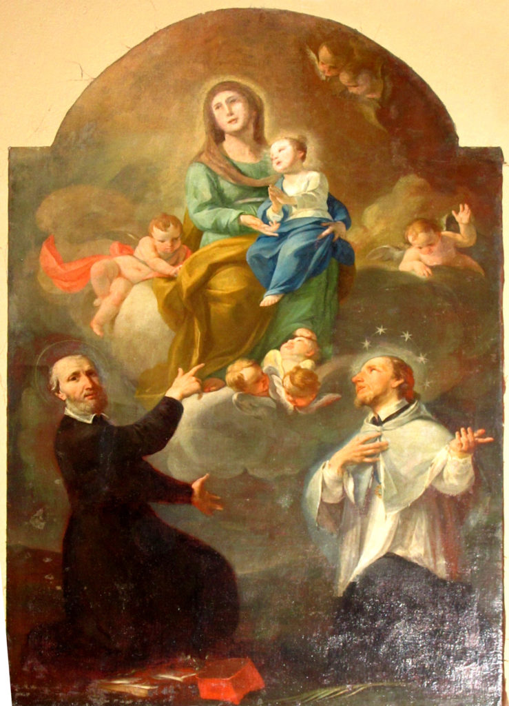 ANONIMO. Sant'Anna con Maria Bambina due Angeli e due Santi (sec. XVIII)