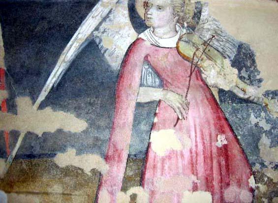 SCUOLA DI GIACOMO JAQUERIO. Scene dell'Infanzia di Cristo (inizio sec. XV) - Angelo musicante