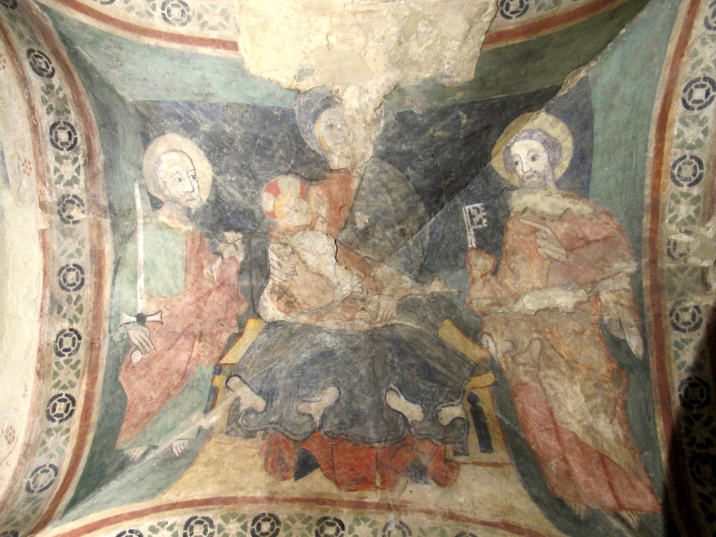 ANONIMO. La Vergine col Bambino e gli Apostoli Pietro e Paolo (sec. XIV).