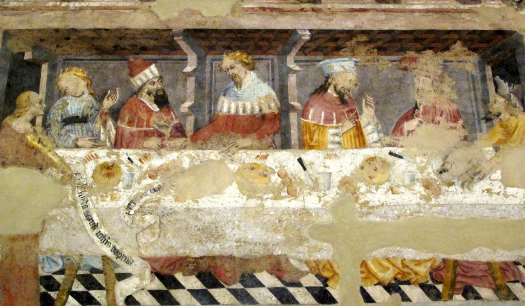 AUTORI ANONIMI. Ciclo di affreschi sulla vita di San Giovanni Battista (inizio sec. XV) - Banchetto di Erode
