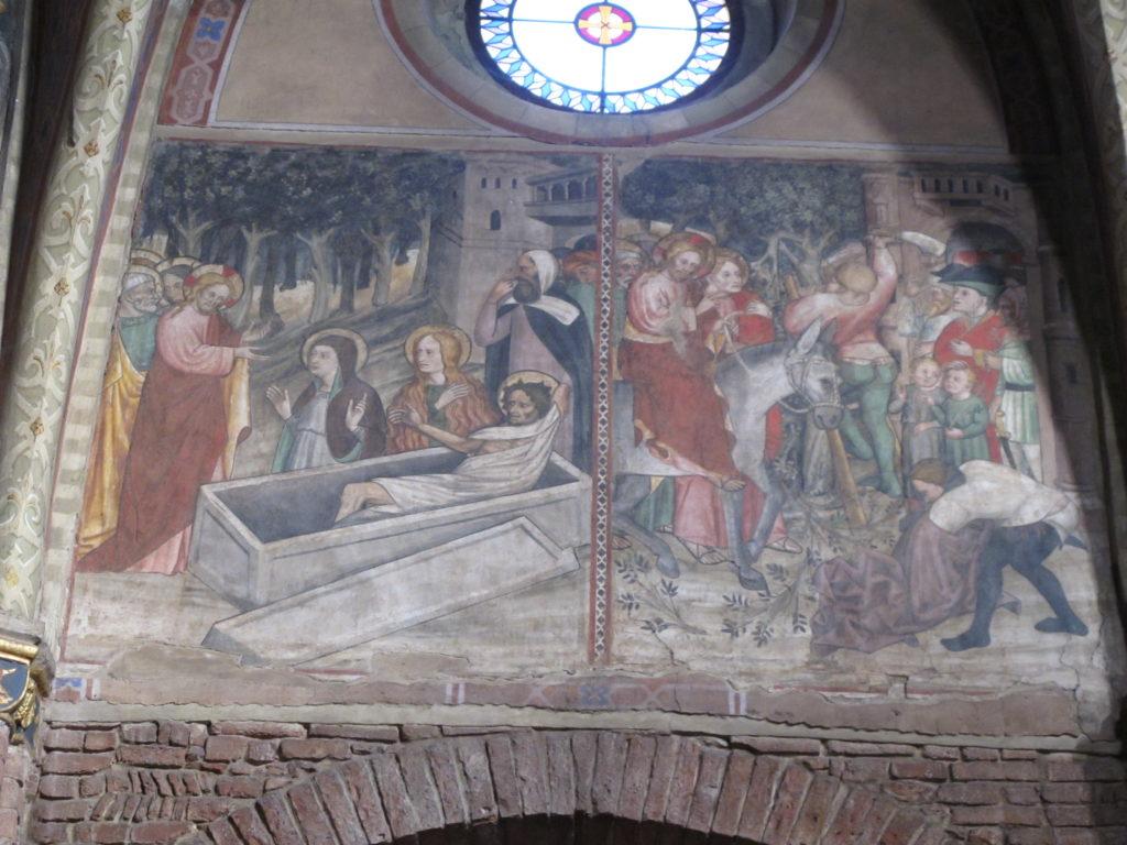 FANTINI Guglielmetto. Ciclo della Passione di Cristo (1432-1435) - Resurrezione di Lazzaro - Ingresso di Gesù in Gerusalemme