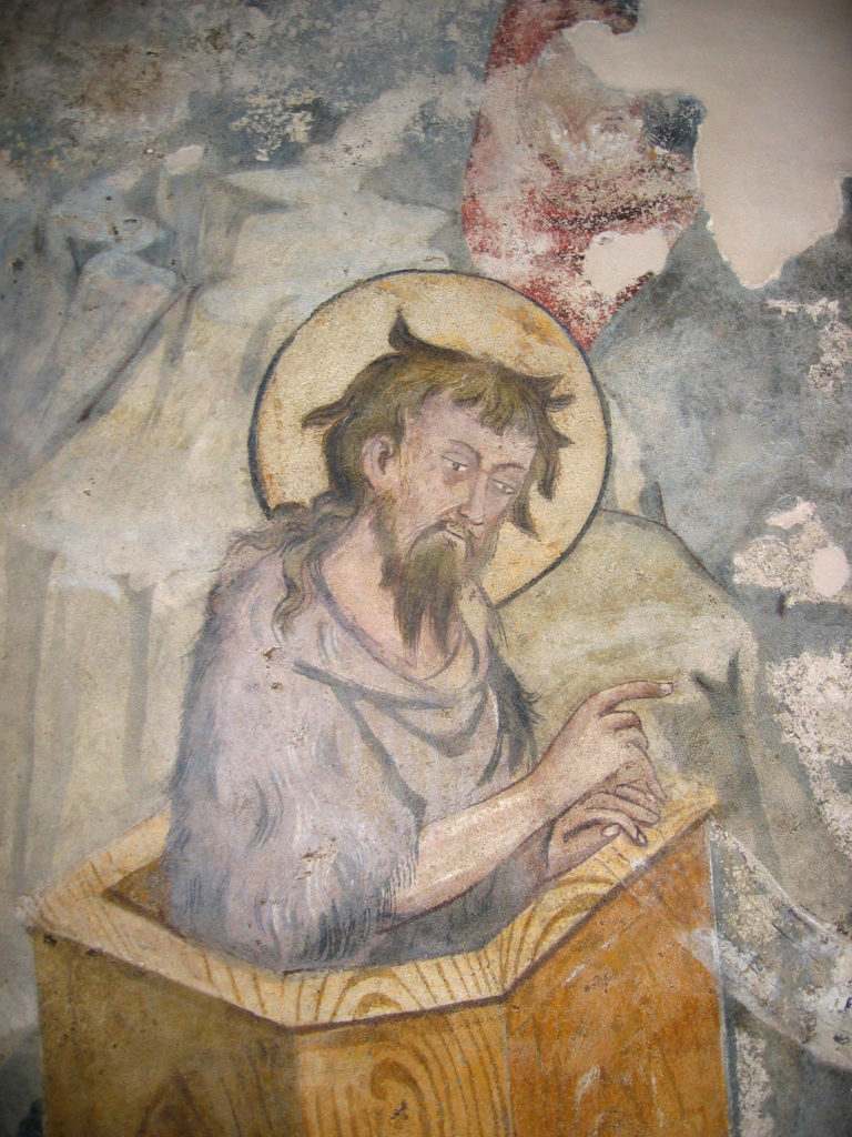 AUTORI ANONIMI. Ciclo di affreschi sulla vita di San Giovanni Battista (inizio sec. XV) - Predicazione di Giovanni Battista