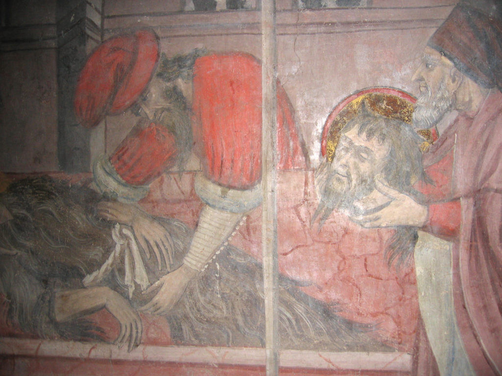 AUTORI ANONIMI. Ciclo di affreschi sulla vita di San Giovanni Battista (inizio sec. XV) - particolare della Sepoltura di Giovanni Battista