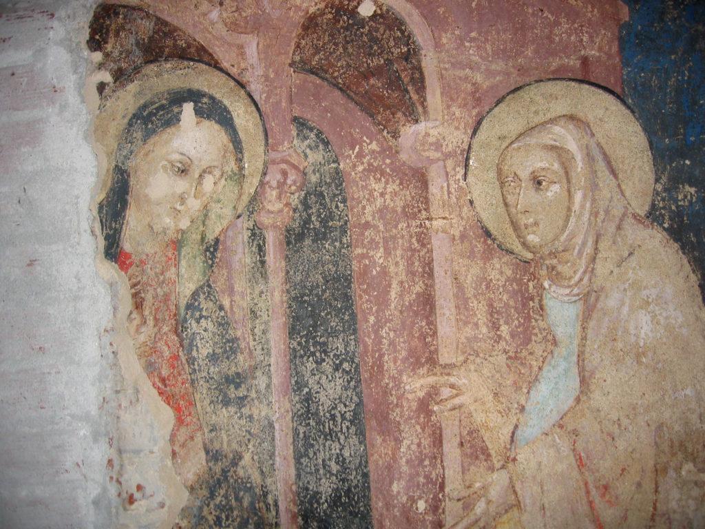 AUTORI ANONIMI. Ciclo di affreschi sulla vita di San Giovanni Battista (inizio sec. XV)-particolare della Visitazione