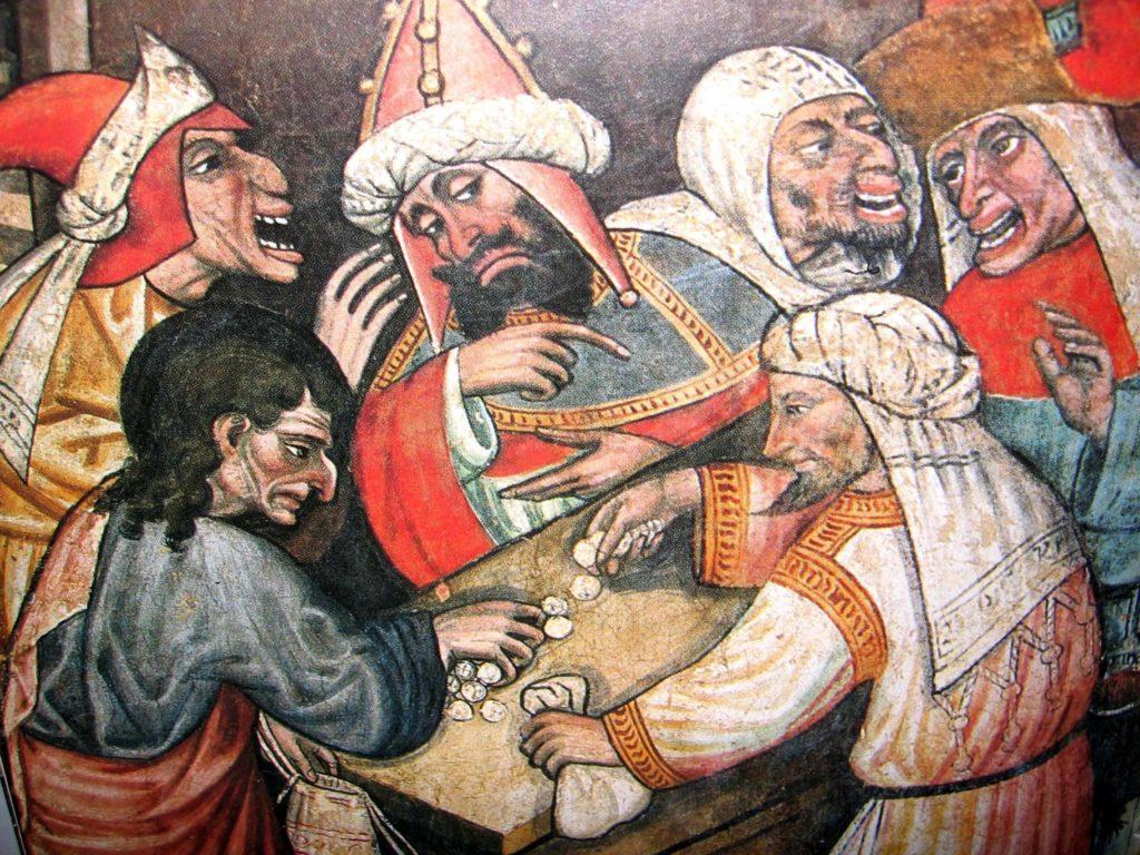 FANTINI Guglielmetto. Ciclo della Passione di Cristo (1432-1435) - Giuda vende Gesù