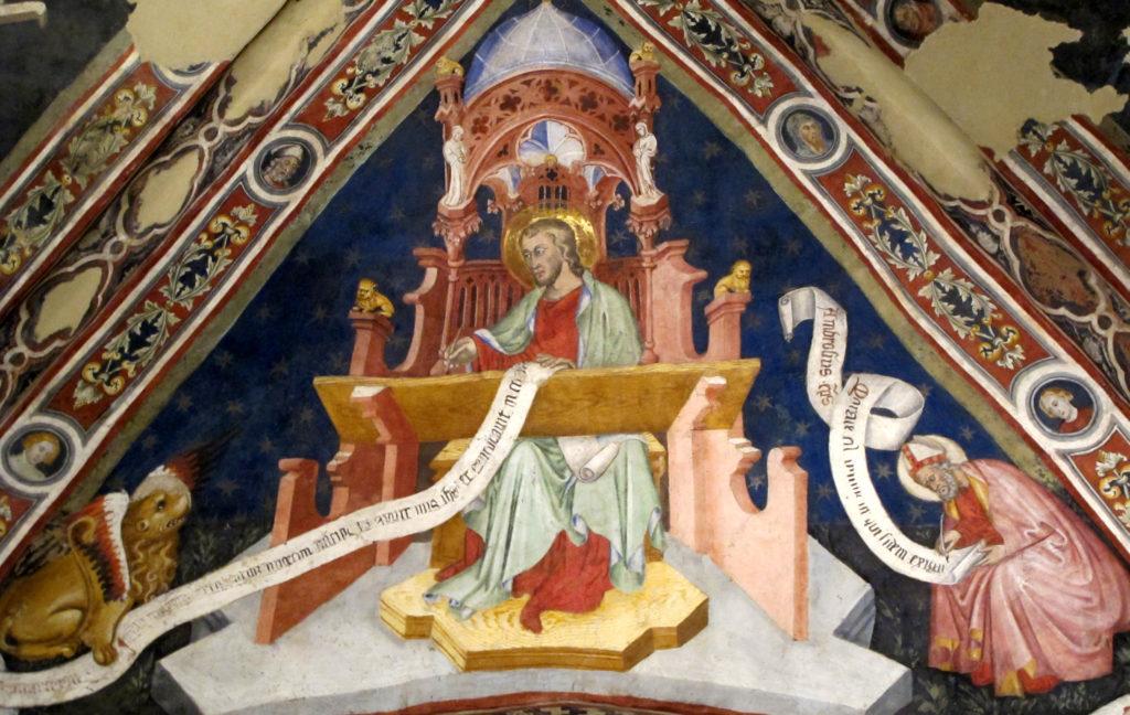 AUTORI ANONIMI. Ciclo di affreschi sulla vita di San Giovanni Battista (inizio sec. XV)- L'Evangelista San Marco