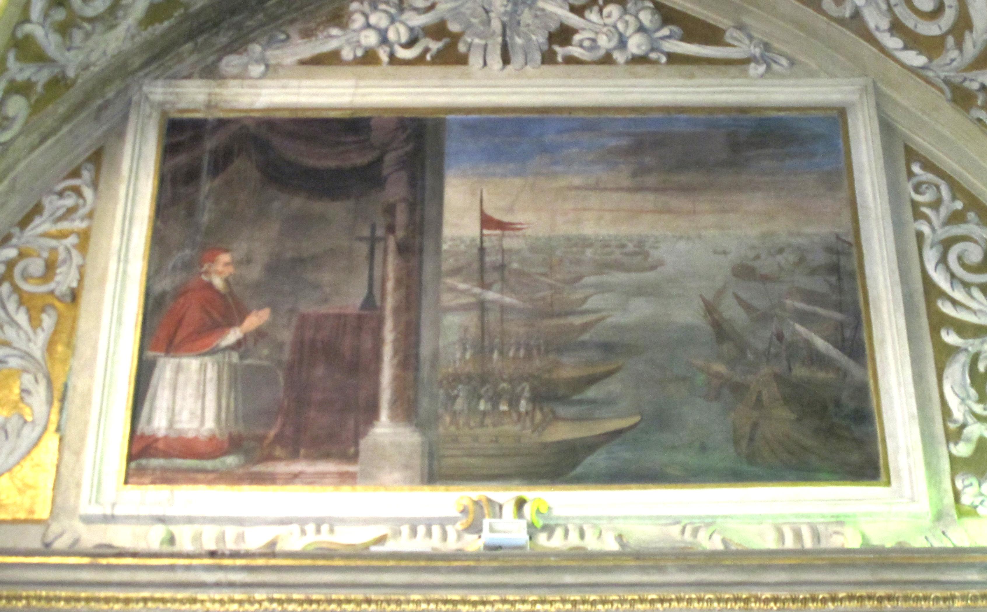 """Scuola di Guglielmo Caccia (il Moncalvo), San Pio V che, mentre recita il Rosario, """"vede"""" la vittoria di Lepanto (1615 ca.)."""