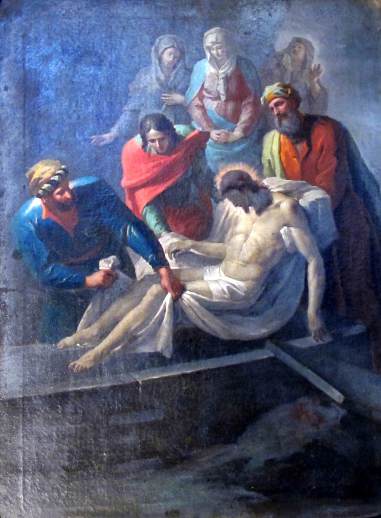 Via Crucis. XIV staz. Il corpo di Gesù deposto nel sepolcro.