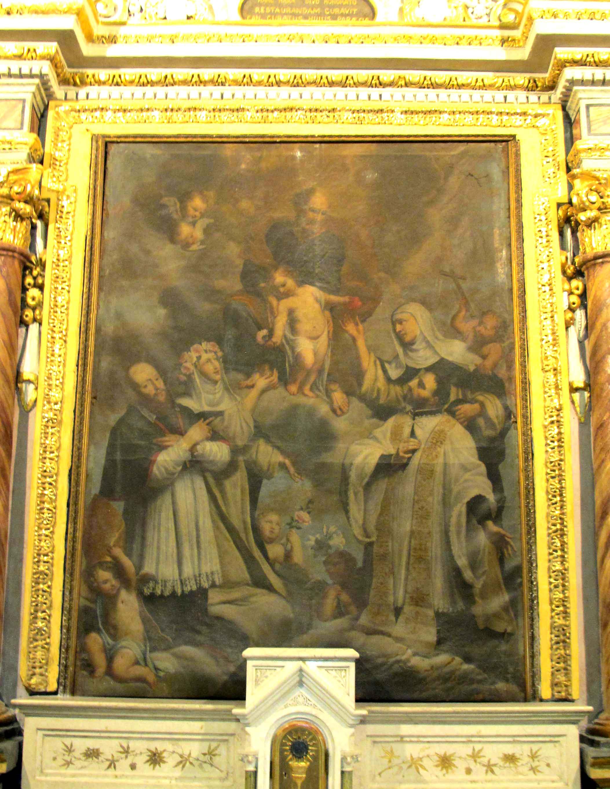 ANONIMO, San Giuseppe e i Santi Francesco di Sales, Francesco Saverio, Rosa da Lima e Caterina da Siena (sec. XVIII)
