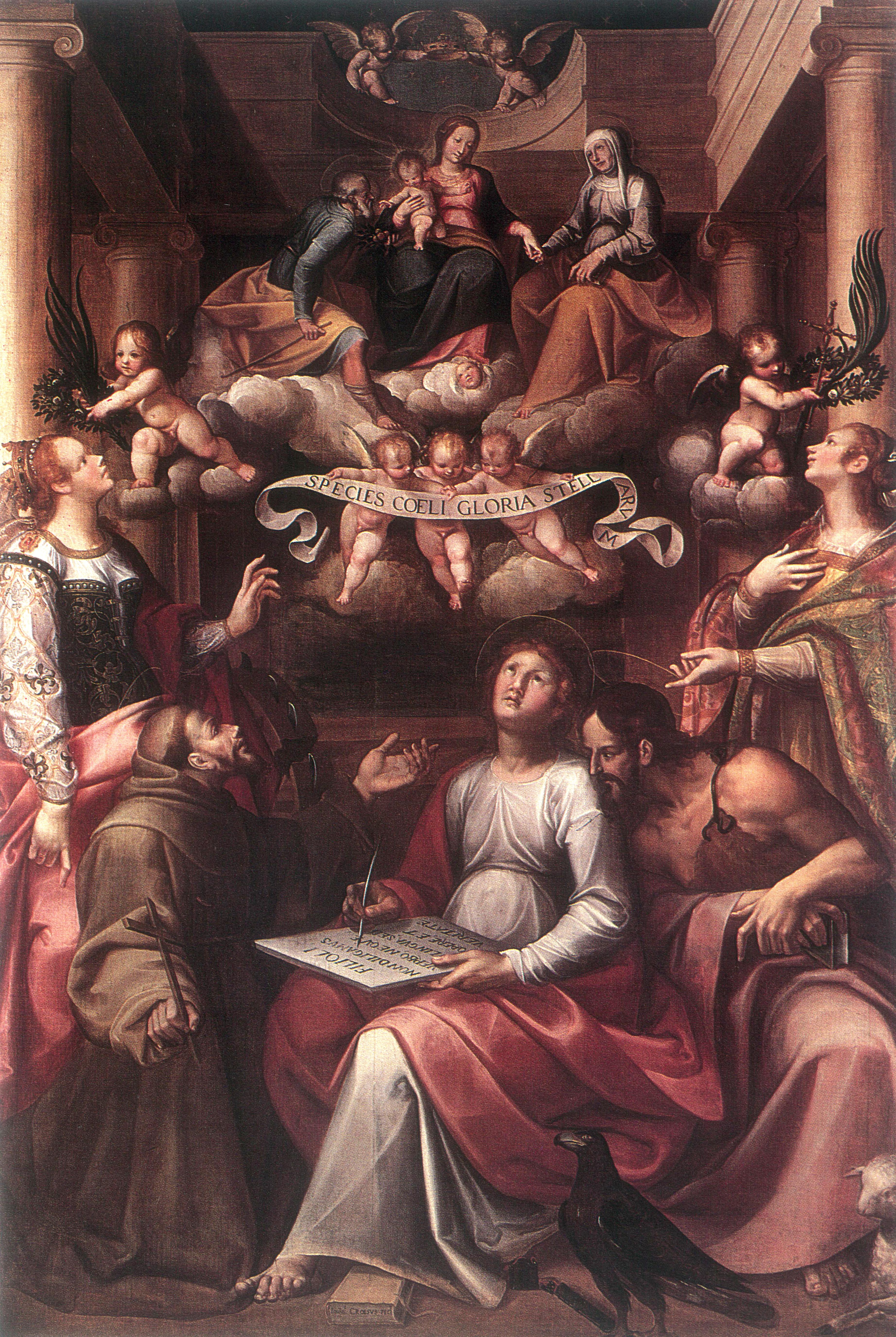 CROSIO GIOVANNI, La Madonna col Bambino, San Giovanni Evangelista e Santi (1619)