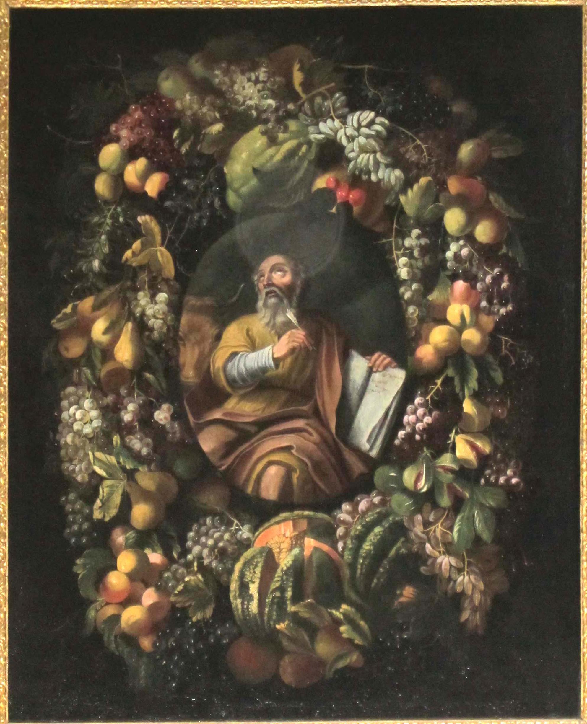 CARLO LANFRANCHI e IGNOTO FIGURISTA PIEMONTESE, L'Evangelista Luca entro una ghirlanda di frutta (1670-80 ca.)