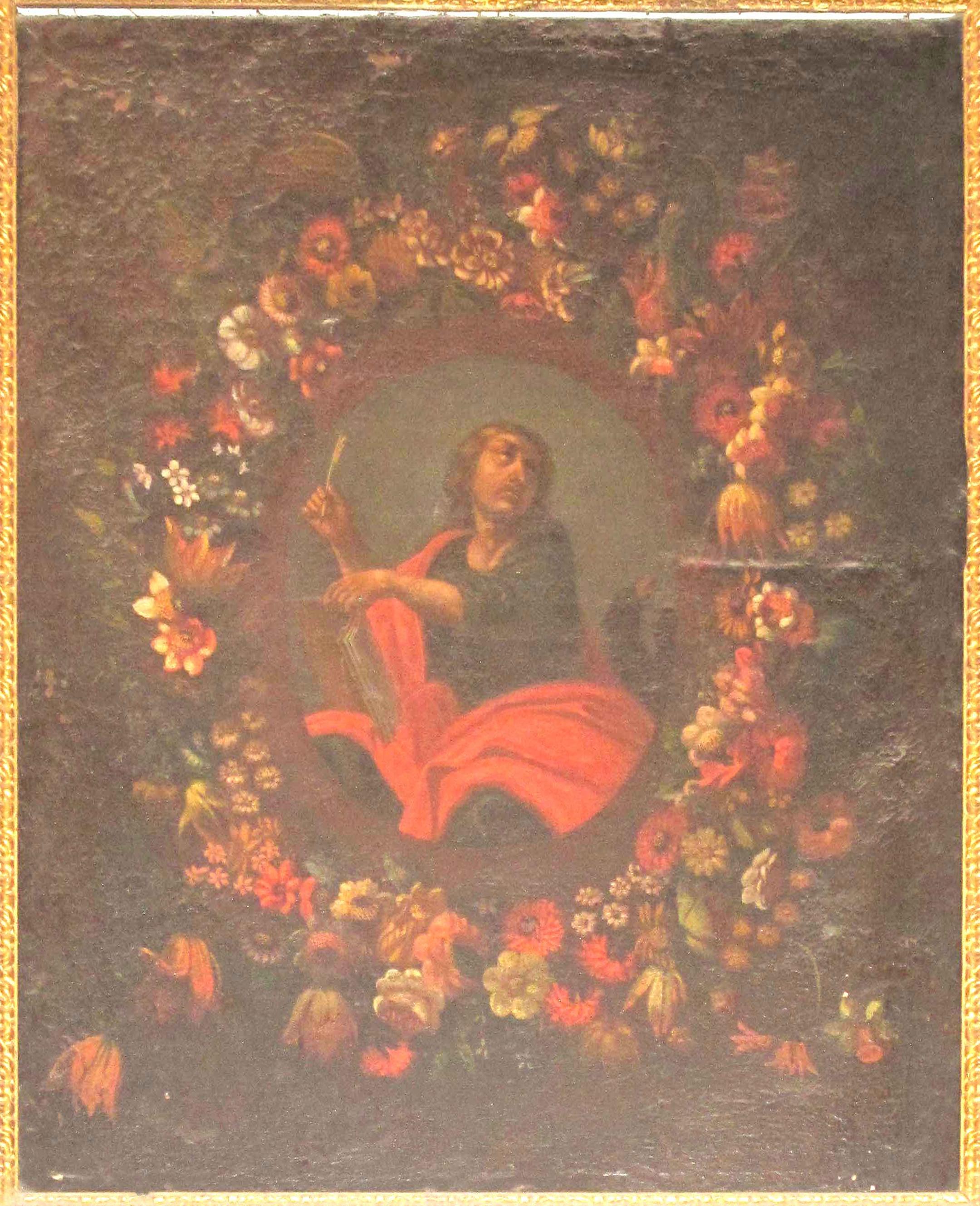 CARLO LANFRANCHI e IGNOTO FIGURISTA PIEMONTESE, L'Evangelista Giovanni entro una ghirlanda di fiori (1670-80 ca.)
