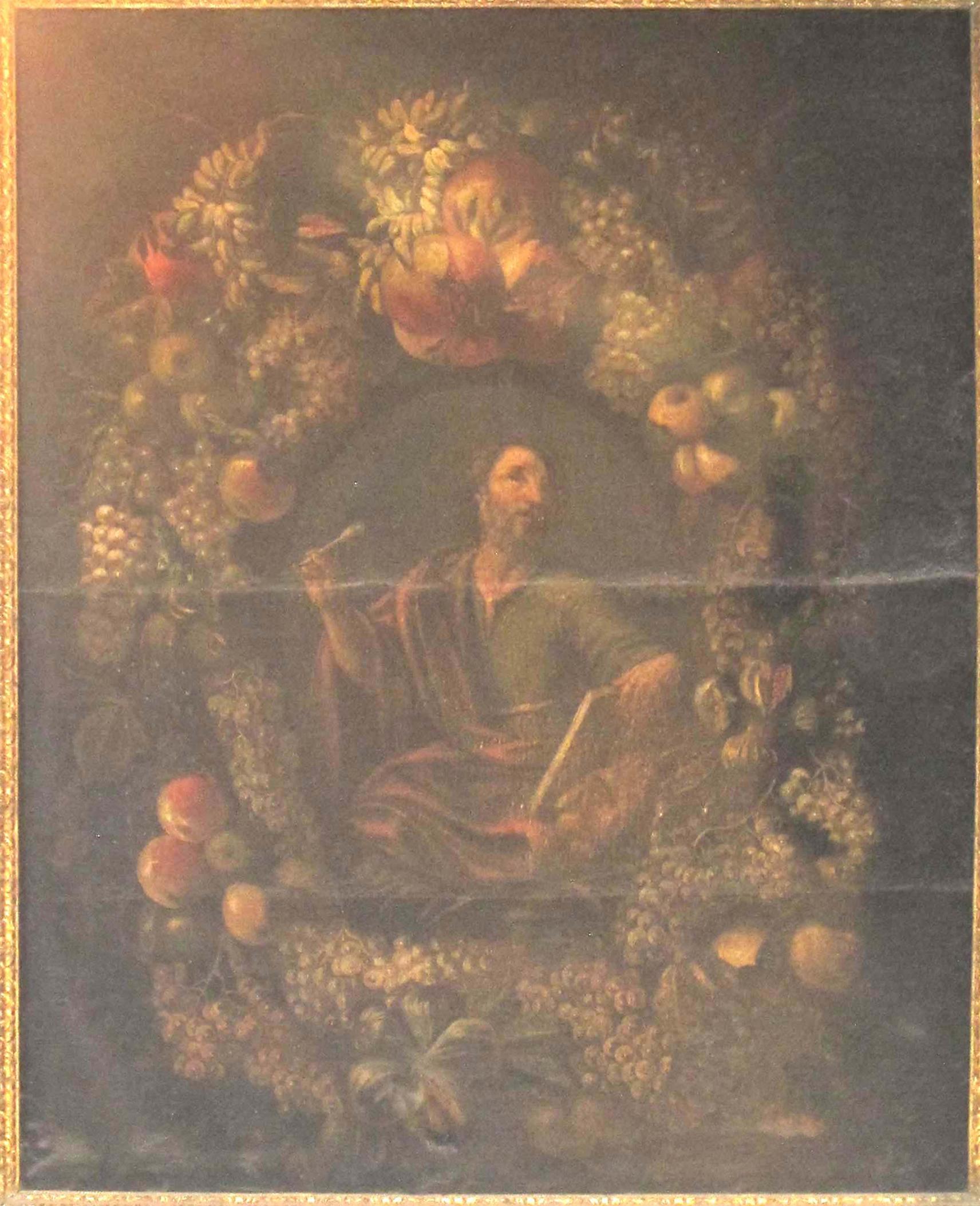 CARLO LANFRANCHI e IGNOTO FIGURISTA PIEMONTESE, L'Evangelista Marco entro una ghirlanda di frutti (1670-80 ca.)