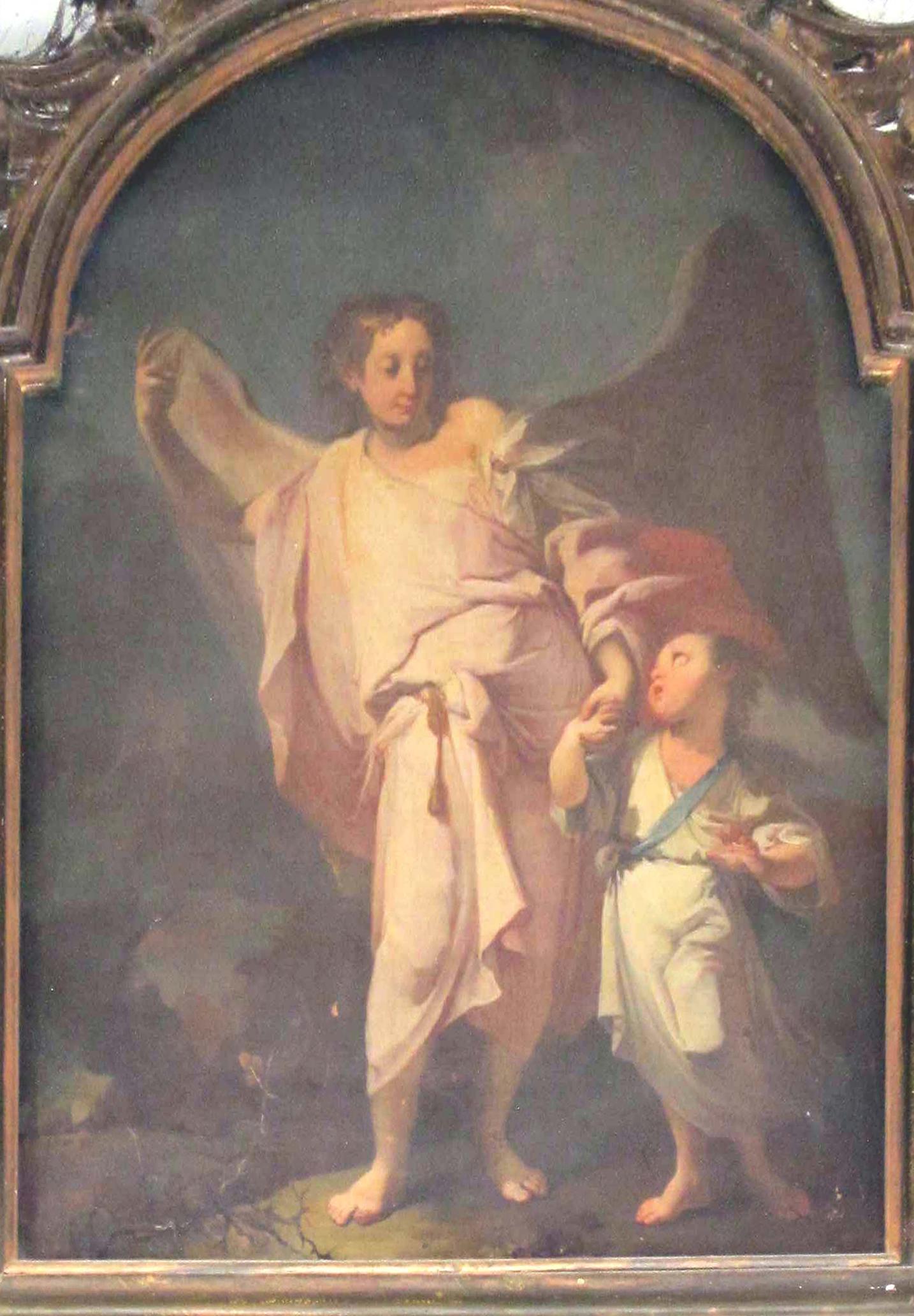 IGNOTO PITTORE PIEMONTESE, Angelo custode (metà del sec. XVIII).