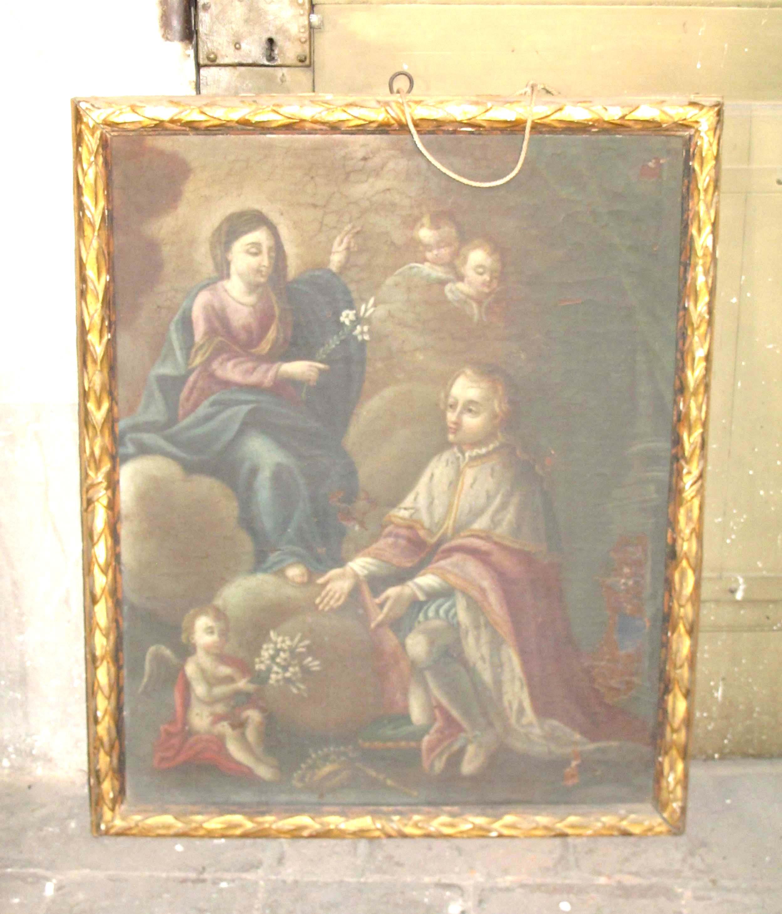 IGNOTO PITTORE PIEMONTESE, La Vergine Maria appare a San Luigi di Francia (fine sec. XVIII).