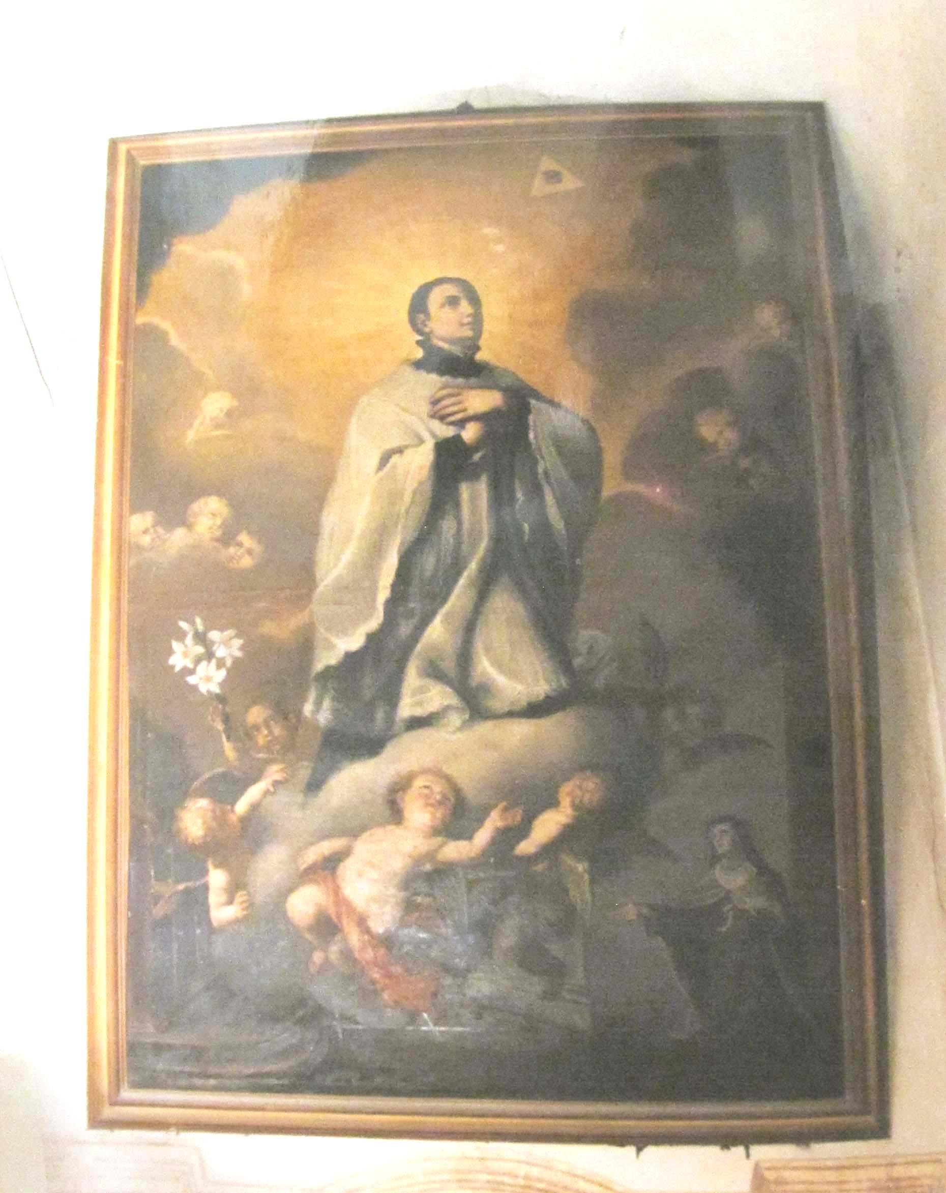 IGNOTO PITTORE PIEMONTESE, San Luigi Gonzaga in gloria appare a Santa Maria Maddalena de' Pazzi (prima metà del sec. XIX).