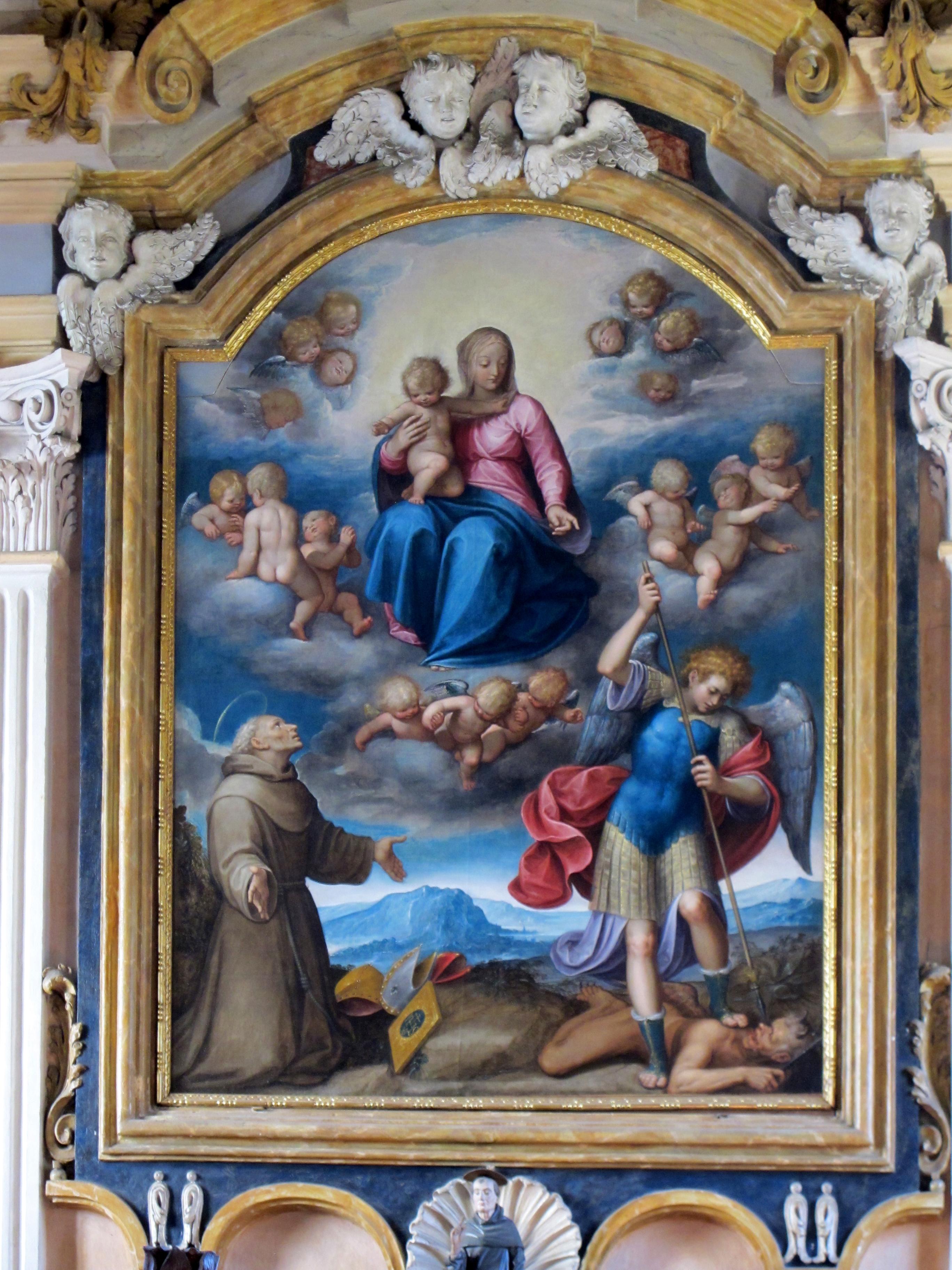 Il Moncalvo. Madonna col Bambino e, San Bernardino e San Michele Arcangelo