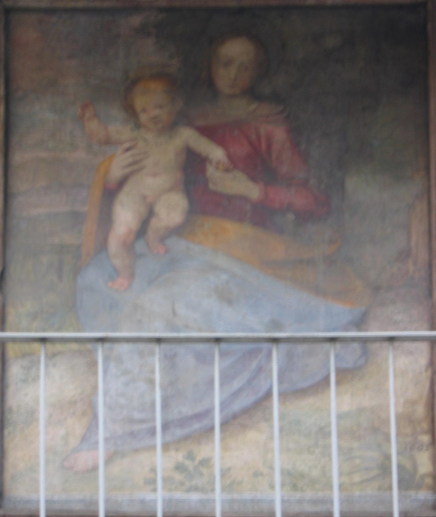 """VIA TANA ang. VIA DEI MOLINI Madonna col Bambino (Guglielmo Caccia detto """"il Moncalvo"""" attrib,)"""