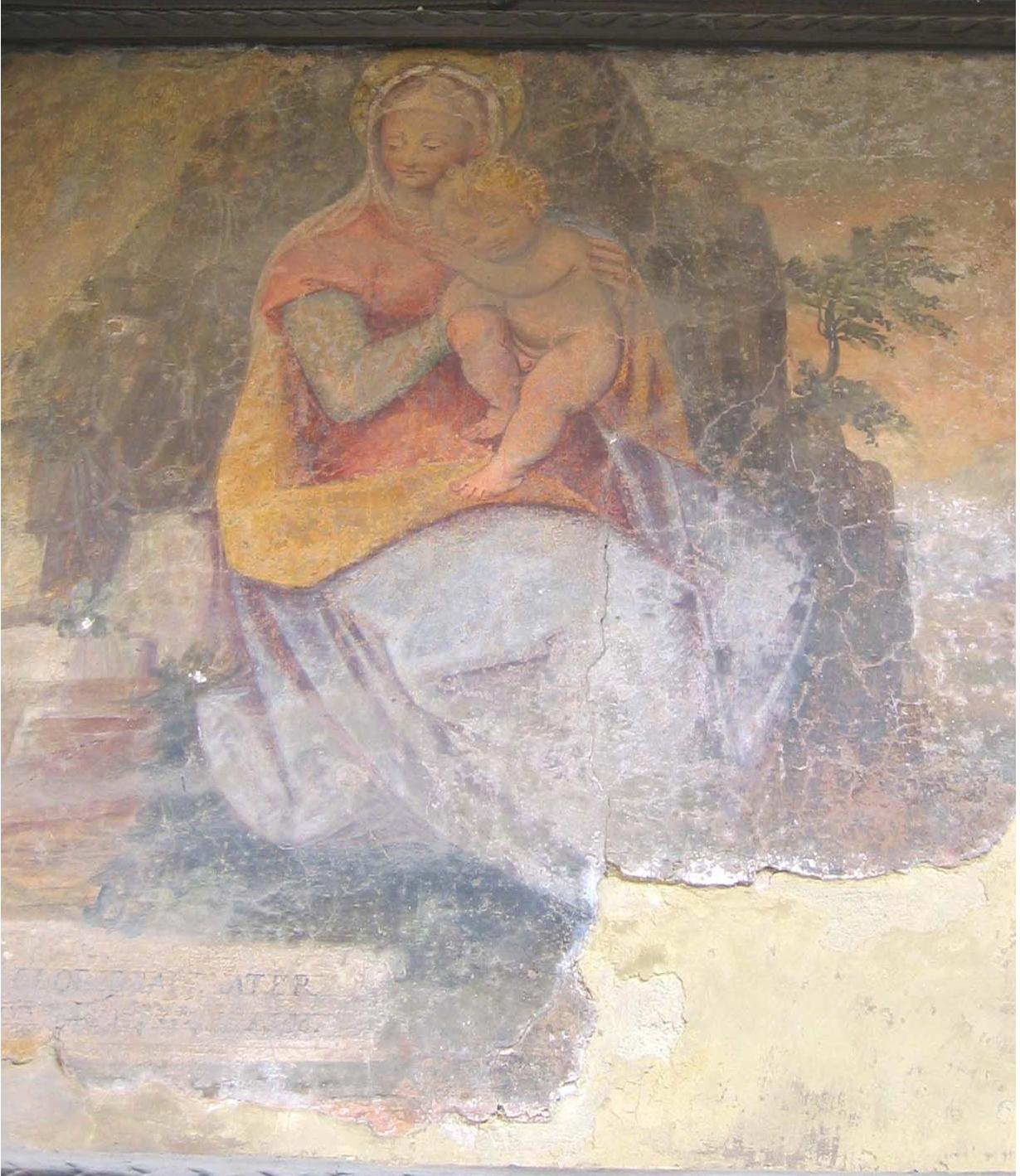 VICOLO MOZZO DELL'ANNUNZIATA, MADONNA COL BAMBINO (Guglielmo Caccia detto il Moncalvo attr.)